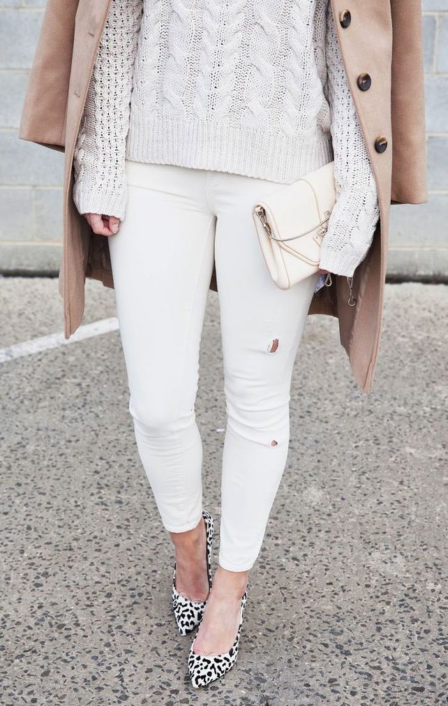 Mixing your nudes and whites with a hint of pattern. #shopstyle