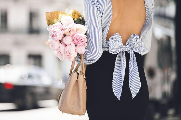 Peonies, a bow shirt & sassy street style look. — DYROGUE  Fashion Blogger Diana Rogo Wearing a Zara Top, Mermaid Skirt and Prada bag.