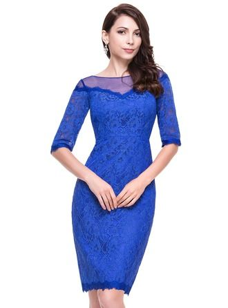 Sheath/Column Scoop Neck Knee-Length Tulle Lace Cocktail Dress http://bit.ly/1e4q9ID