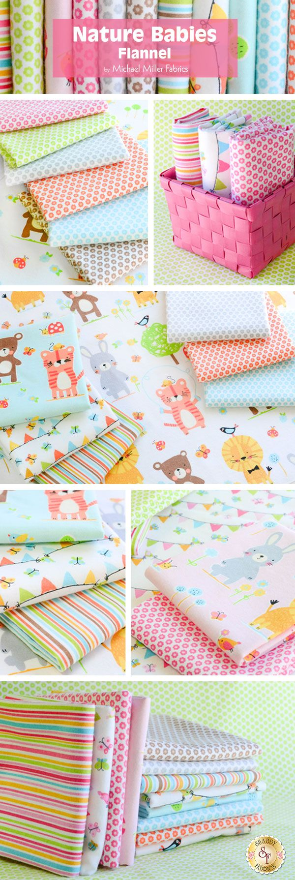 Nature Babies Flannel by Michael Miller Fabrics is a modern and adorable fabric collection available at Shabby Fabrics