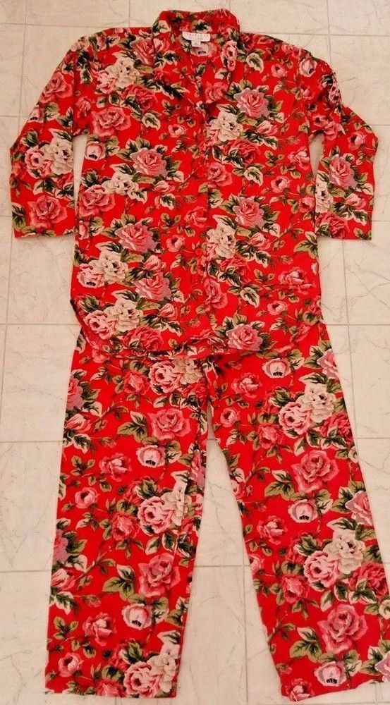 Cambridge Dry Goods Womens PAJAMAS SZ S 100 COTTON PINK Roses Cottage NWOT #CambridgeDryGoods #PajamaSets
