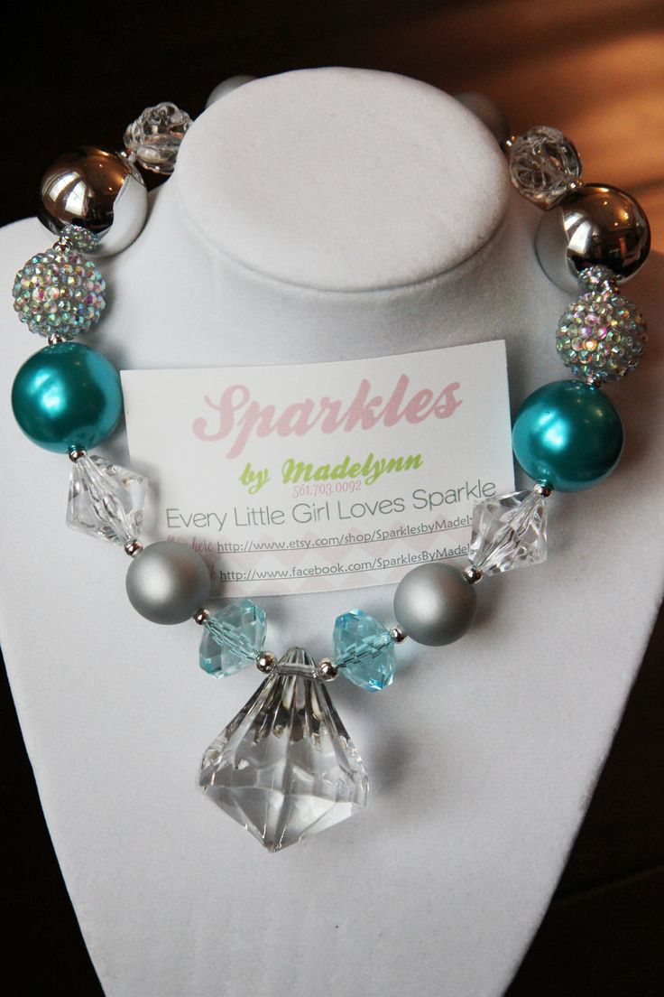 Chunky Girls Beaded Necklace. $28.00, via Etsy.  Sparkles by Madelynn. So perfect for little girls:)