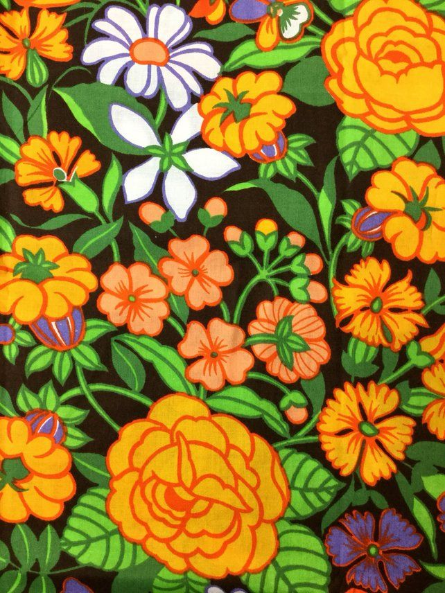70s vintage fabric Swedish textile Retro pattern cotton red Roses fabric Floral print Scandinavian design Hippie Flower power unused
