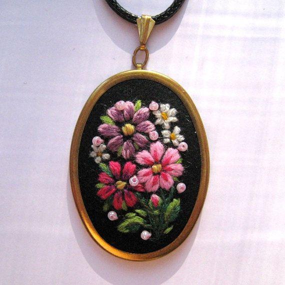 Muhu art embroidery pendant necklace by MuhuJewelry on Etsy, €25.00