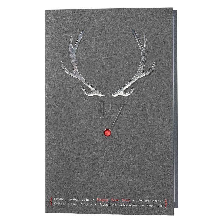 Lustige Neujahrskarten - schimmernder Metallickarton & edle Silber- und Rotfolienprägung! Ein Blickfang!