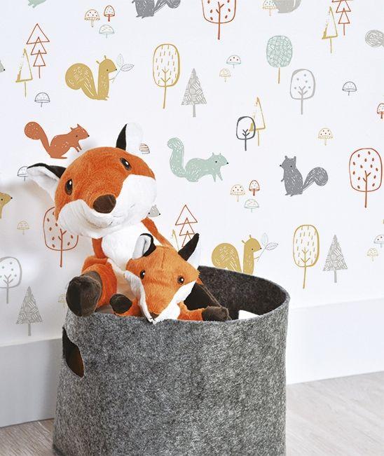 Papier peint animaux écureuils forêt chambre d'enfant et bébé Lilipinso