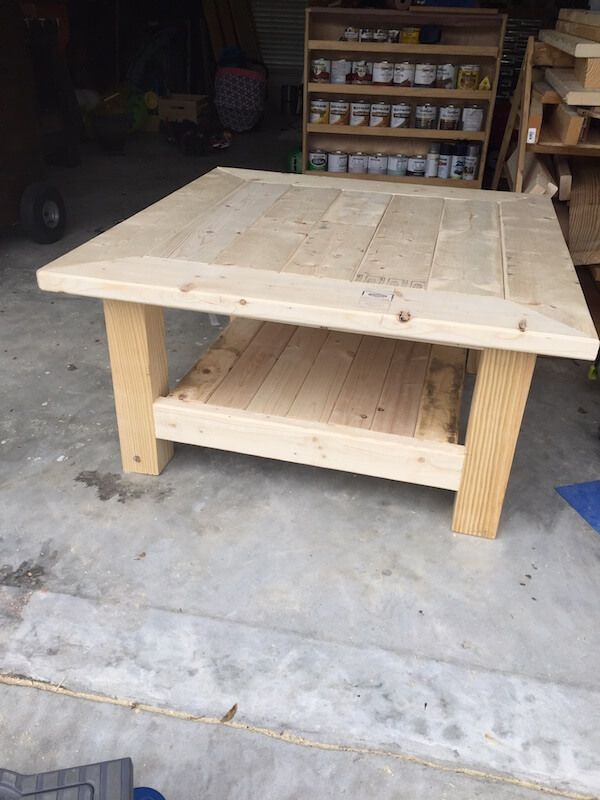 square coffee table w planked top free diy plans