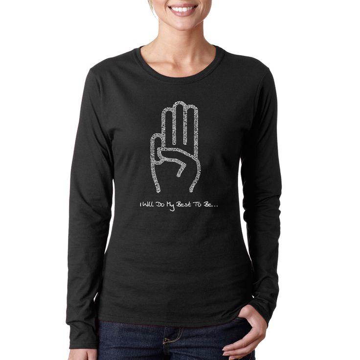 Los Angeles Pop Art Women's Girl Scout Law /Pink Long-sleeved T-shirt