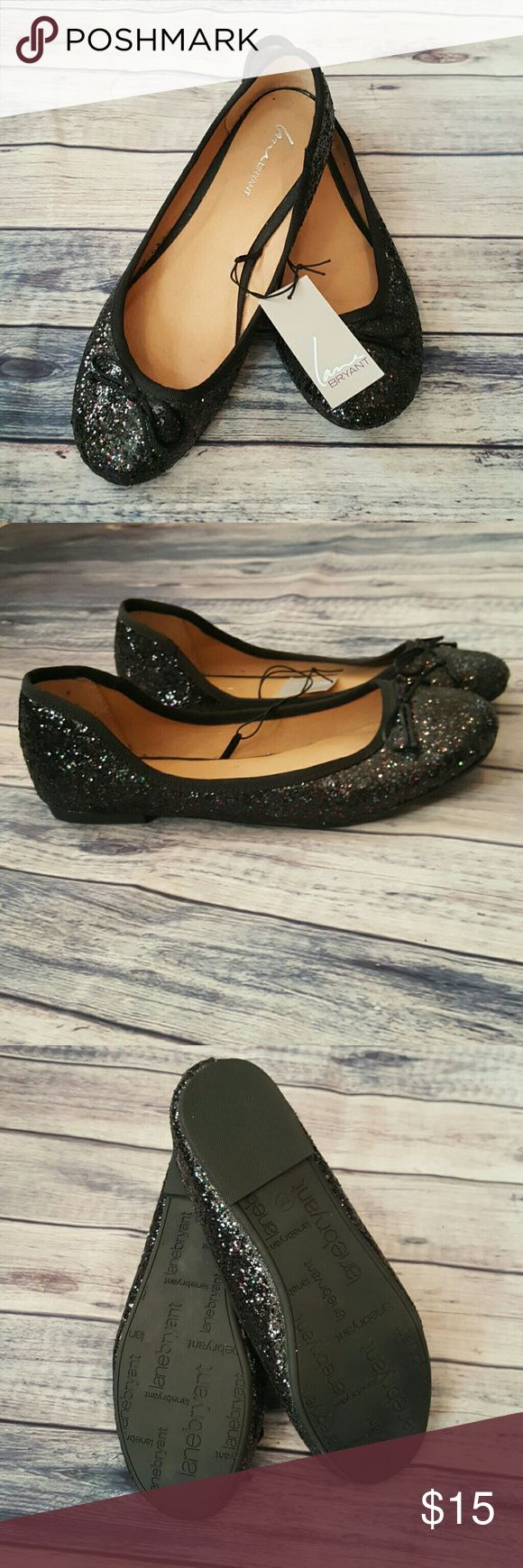 Lane Bryant flats, size 10W NWT Lane Bryant ballet black sparkle flats, size 10W NWT.  All my stuff comes from a smoke free and pet free home.  I encourage you to bundle to save on shipping, so check out my closet for other deals! 312 Lane Bryant Shoes Flats & Loafers