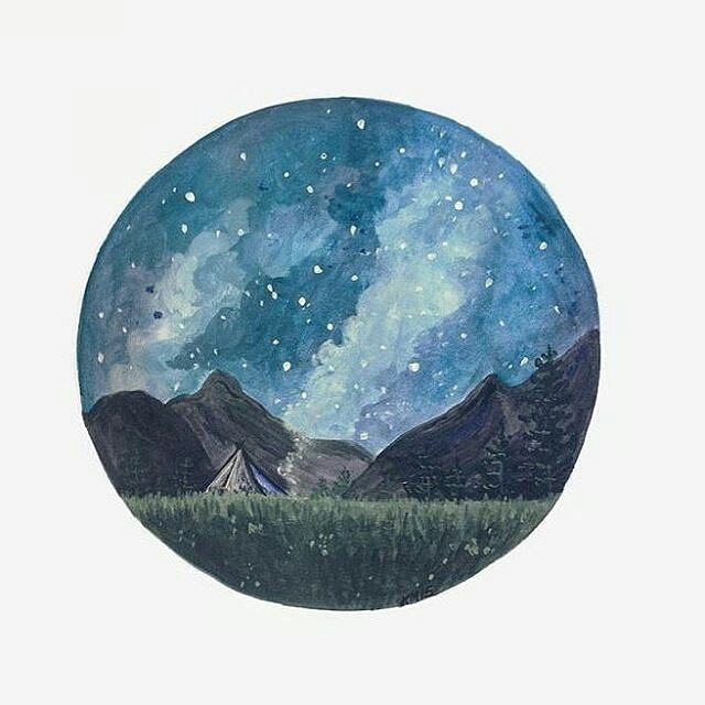 Lovely #painting by @katejerryy of a #starry #night #sky over a #field of #grass and #mountains. One of these days I will go to a part of the #wilderness where this many #stars can be seen from a #nighttime sky... you just don't get this kind of #astronomical beauty in suburban parts of New York. For now though I am content to enjoy beautiful #landscape #artwork renditions by artists like Kate! Great piece! (Prints available for purchase on birchbliss.etsy.com!) #NatureAirship