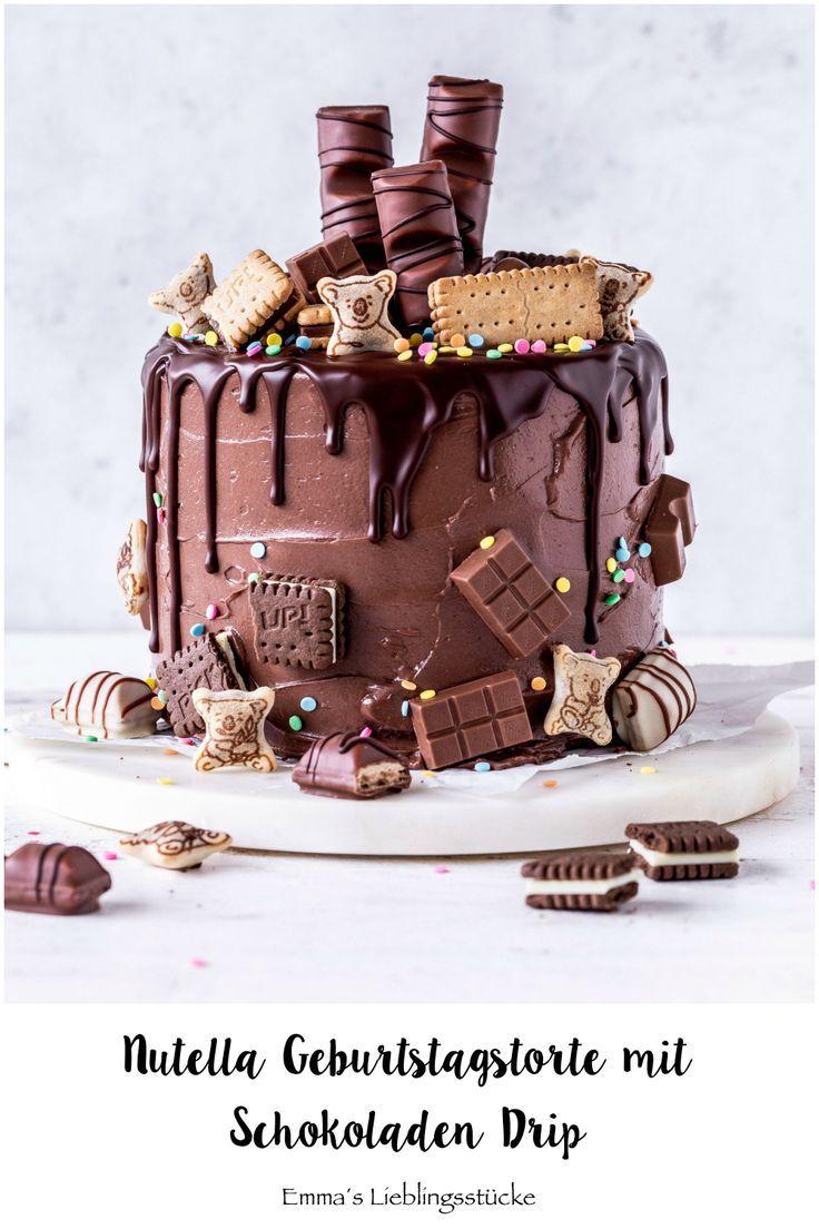 Nutella Schokoladen Drip Cake Rezept Geburtstagstorte Torte Candy backen Baiser …