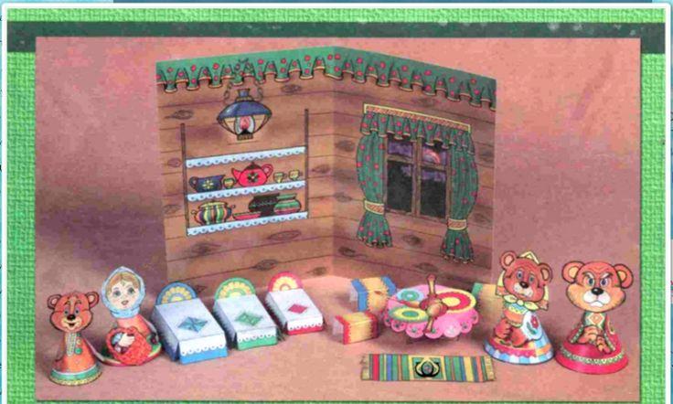 Tri medvede - papierové divadlo - vystrihovačka rozprávka Máša a tri medvede po rusky http://neposed.net/training-games/razvivayushchie-igry/domino-1.html