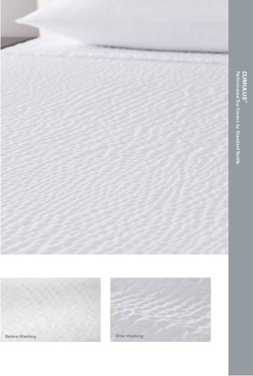 Standard Textile Cumulus White Textured Decorative Top Cover - If you've stayed at popular hotels like Marriott or Sheraton, and loved their rippled coverlet, you've experienced the Cumulus top cover from Standard Textile. Solid white, with a wash-activated rippled texture. #sheraton #marriott #hotel #bed