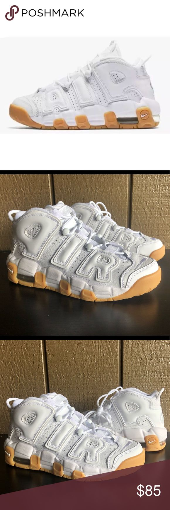 Nike Air More Uptempo White Gum Basketball Shoes Brand : Nike Color : White/Gum Size : 5Y Style Code : 415082-101 Material : Leather 100% AUTHENTIC Brand new. No box. Never worn. Nike Shoes Sneakers