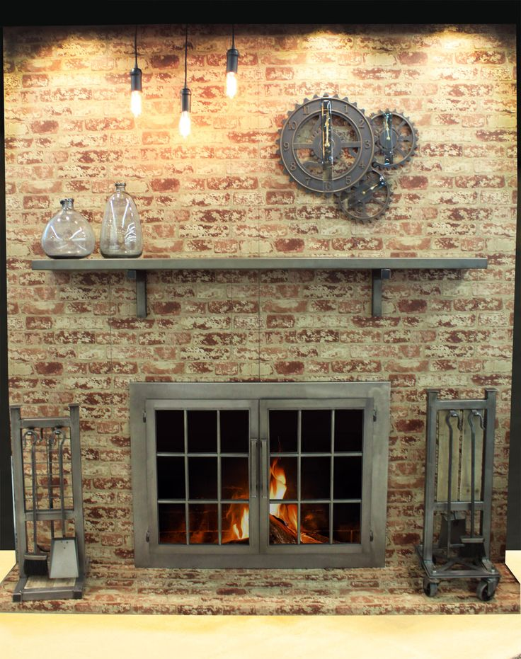 Take a look at these amazing industrial style fireplace doors and accessories! Description from fireplace-decorating.com. I searched for this on bing.com/images