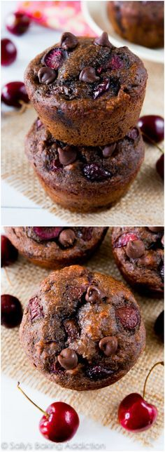 Moist, fudgy 110 calorie chocolate muffins filled with juicy cherries. You won't miss all the calories and fat, trust me! @sallybakeblog