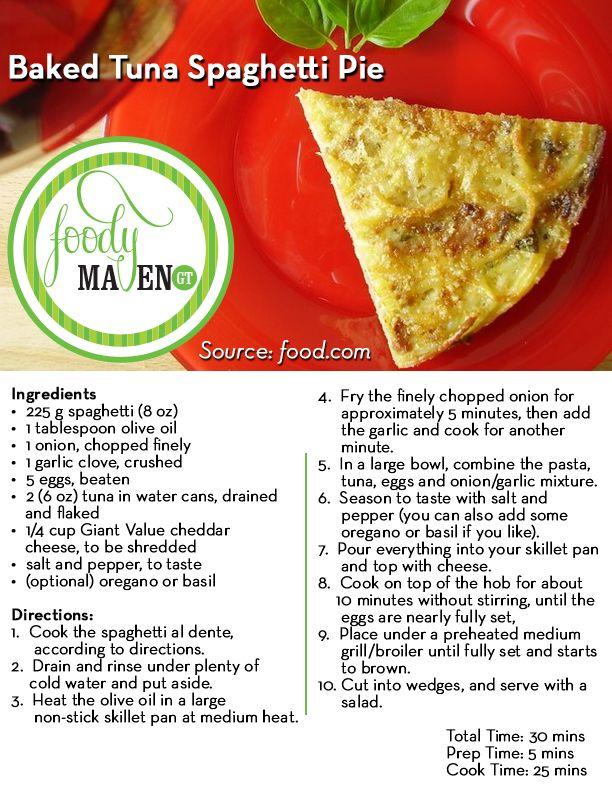 Baked Tuna Spaghetti Pie