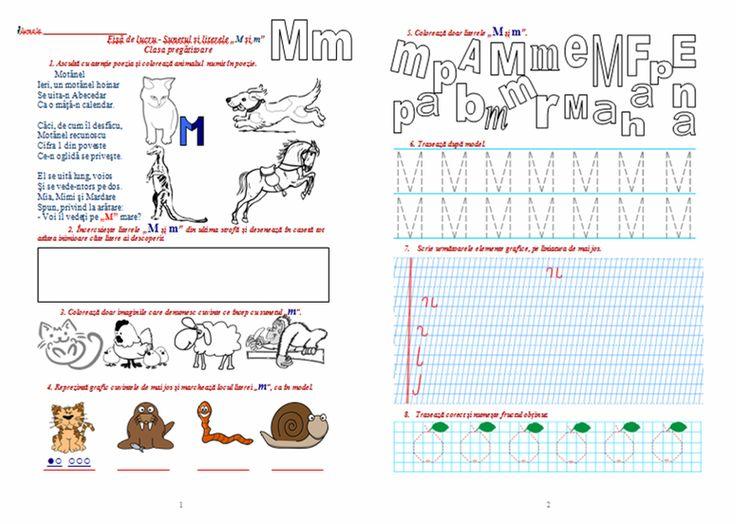 """Materiale didactice de 10(zece): Fișă de lucru - Sunetul și literele """"M și m"""", clasa pregătitoare"""