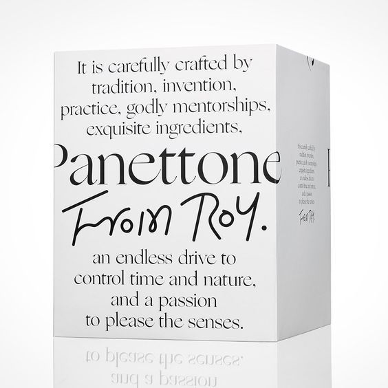 Traditional Italian Panettone in a modern black and white packaging #typography