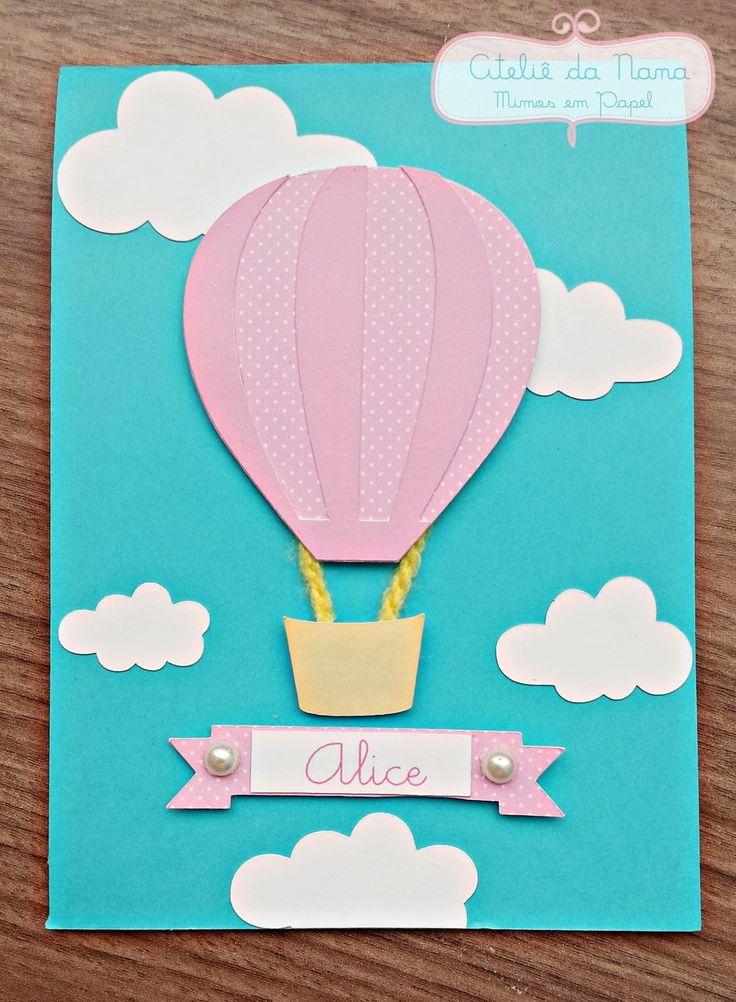 Convite balão feito em papel scrap.  Personalizado com nome e com os dizeres do convite.    Faço em outras cores, de acordo com o tema da festa.  *Não inclui tag do convidado.  Para acrescentar, será R$0,30 por tag.    Pedido mínimo: 15 unidades  Altura: 15x10,5cm (fechado)