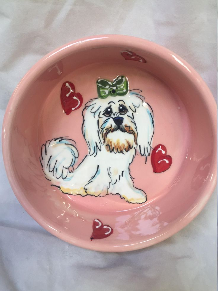 Dog Bowl / Dog / Hand Made / Pottery / Hand Painted / Ceramic / Pottery / Custom / Trophy / Debby Carman Faux Paw Productions by FauxPawProductions on Etsy