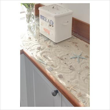 This would be really cute for a bathroom counter or kitchen counter at a beach house!