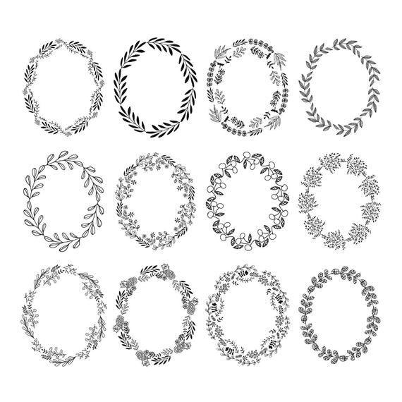 Set Of 12 Oval Wreaths Clipart Flourish Svg Dxf Png Jpg Etsy Desenhos Para Tatuagem Designs De Bordados Artesanato