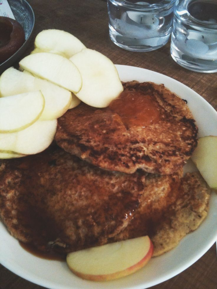 Oatmeal, banana, cinnamon, egg (no sugar, flour added) pancakes with maple syrup and an apple on the side
