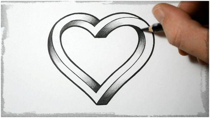 Dibujos de corazones a lapiz faciles de hacer