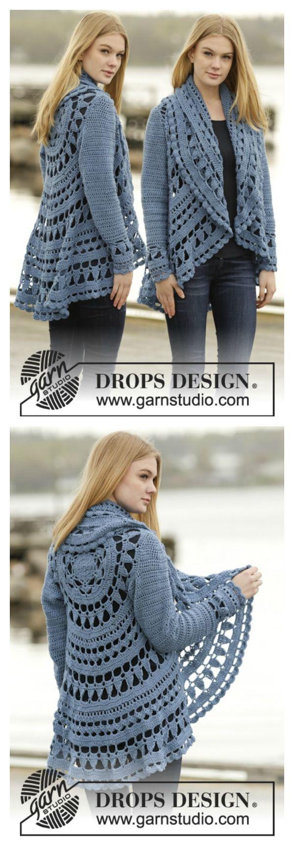 Knit Vest Pattern In The Round : Crochet Pretty Circle Jacket with Pattern Virkning, Monster och Sy