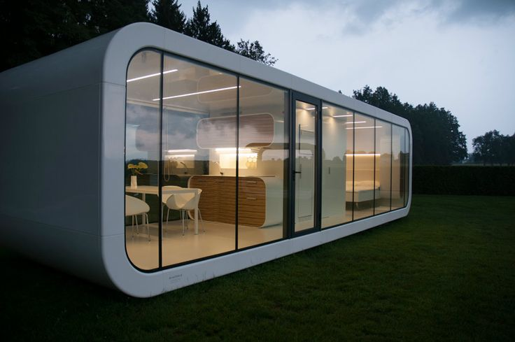 long white small house with glass