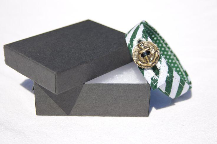 Material Anchor Bracelet - Emerald Green & White