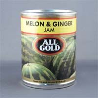 All Gold Melon and Ginger Jam is a mouthwateringly ripe melon mixed with a hint of ginger to give it that distinctive zing of flavor. From South Africa.