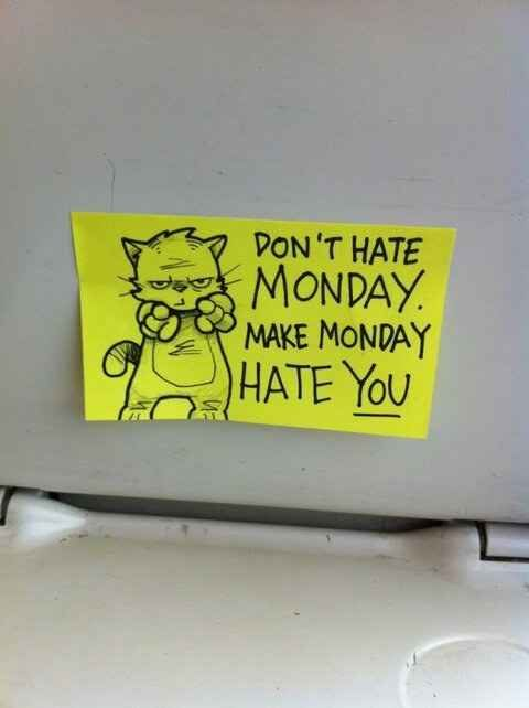 Haha motivational Kitty! Someone Has Been Leaving Cute Motivational Post-It Notes On The Train