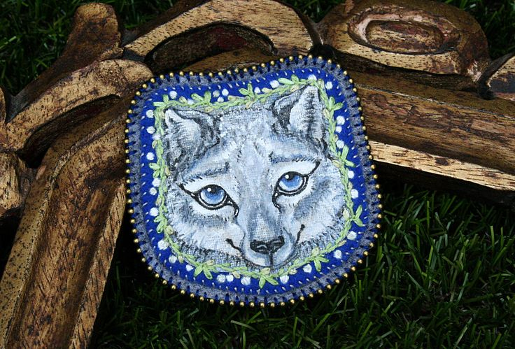 Snow Wolf- Animal Spirit - Original Art - Fiber Art - Modern Embroidery - Hand Painted - Hand Stitched - Wall Hanging - Patch - Brooch by BlackCatCreativeStd on Etsy https://www.etsy.com/listing/398698087/snow-wolf-animal-spirit-original-art