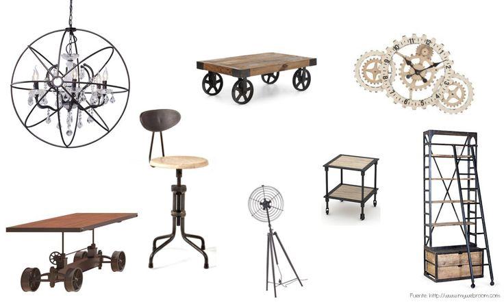 Diferentes elementos que te pueden ayudar a lograr un estilo industrial. Hierro y madera SIEMPRE! Si algo tiene un mecanismo, dejarlo a la vista. Líneas simples y geométricas. Muebles útiles.