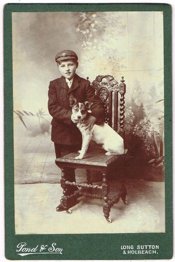 CABINET PHOTOGRAPH BOY WITH TERRIER DOG POND & SON STUDIO LONG SUTTON C.1900