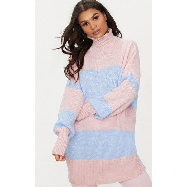 Pale Blue Stripe Oversized Knitted Jumper (£25) ❤ liked on Polyvore featuring tops, sweaters, pale blue, striped knit sweater, high neck sweater, oversized knit sweaters, knit jumper and pink jumper
