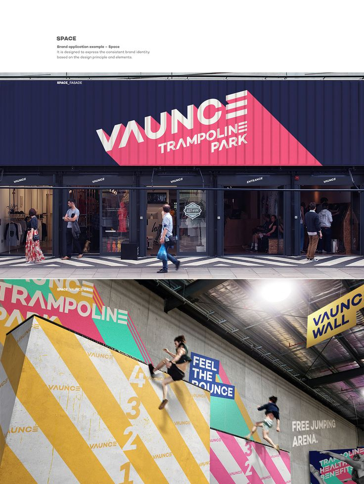 VAUNCE Trampoline Park is a brand new play and cultural space in a city. It defines five core values, Health, Enjoyment, Freedom, Achievement, and Culture, in order for its brand to encompass passion for freedom with healthy enjoyment. It requires communi…