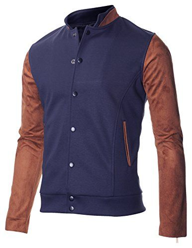 FLATSEVEN Mens Double Stand Collar Varsity Baseball Bomber College Jacket with Faux Suede Sleeve (VSJ304) Navy, M FLATSEVEN http://www.amazon.com/dp/B00RI5CAVM/ref=cm_sw_r_pi_dp_5A6Xub1NRPKWV