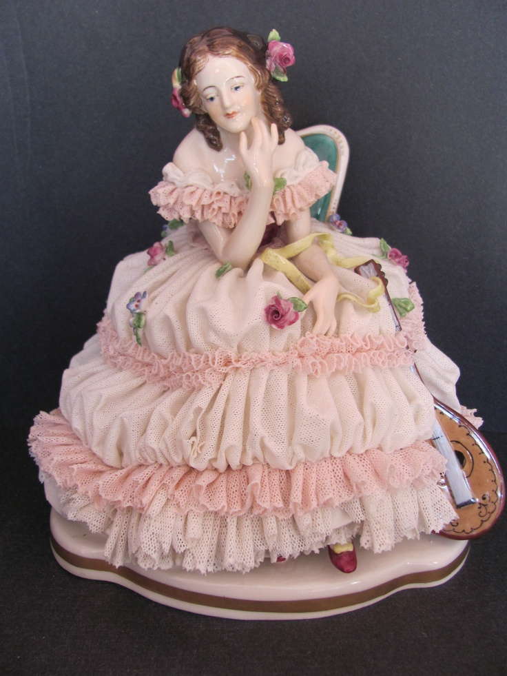 Antique Volkstedt Dresden Porcelain Lace Figurine - Lady With Mandolin ...such amazing detail ♥