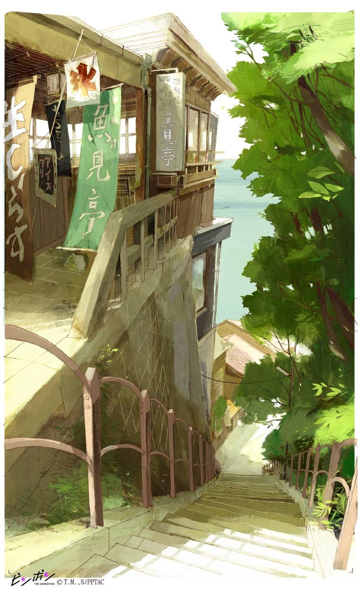 """A """"Ping Pong"""" background based on Enoshima Island :from Ping Pong the animation"""