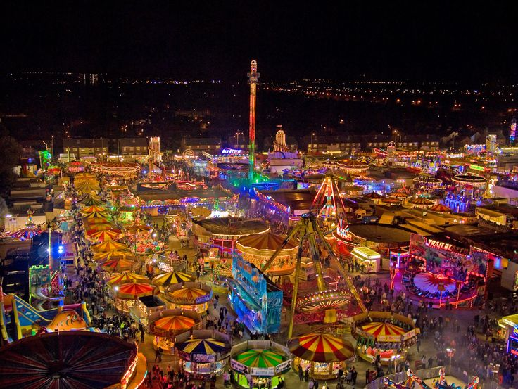 """The massive Hull Fair, held every October in Kingston-upon-Hull, Yorkshire, England. First held in March 1278, it marked its 700th anniversary in 1993 and is billed as """"England's largest traveling fair"""" Photo taken by Rob Miles from atop the """"Big Wheel"""" in 2010. (See more of his work at flickr.com/photos/robertmiles)"""