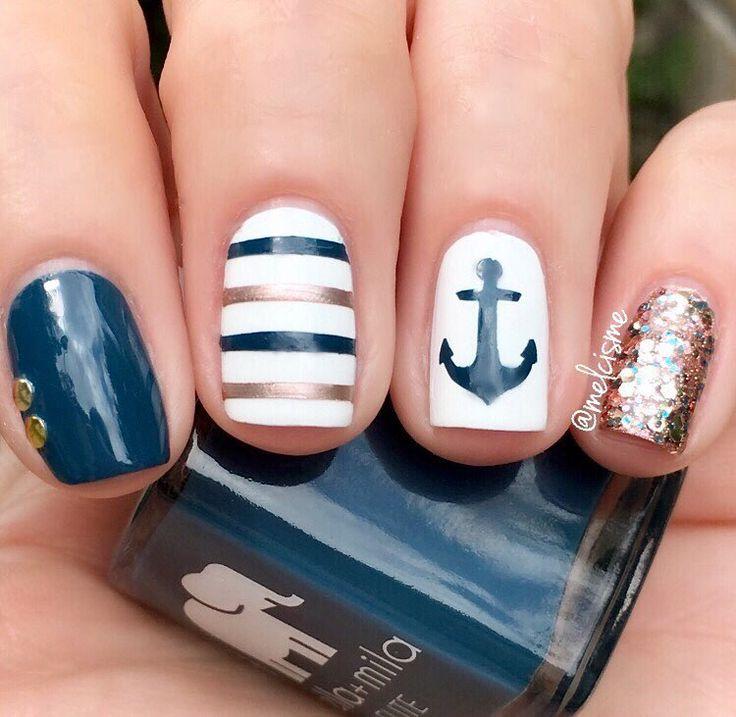 "Melissa ♡ on Instagram: ""⚓️ nautical nails ⚓️ . @ellamila : Mediterranean Mist Champagne Pop I Need A Tan @snailvinyls : Straights & ⚓️ vinyls"""