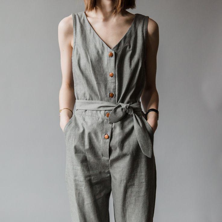 Charcoal Linen Jumpsuit