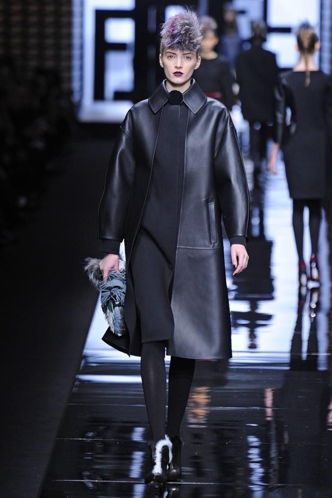 [Fendi RTW Fall 2013 leather full-length jacket]