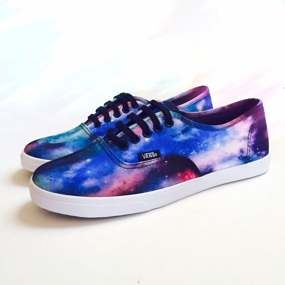 Galaxy Vans Lo Pros Vans classic lo pros in an amazing bold galactic print! According to Vans's website, each pair is slightly unique featuring different cuts of the same canvas material. The pair you will receive is the exact shown in the picture- lots of blues and purples, and a decent amount of hot pink and turquoise! Full length functional black laces and deep purple soles!  ✧ true women's size 7 ✧ REASONABLE offers considered ✧ NO TRADES, sorry ladies! Vans Shoes Sneakers