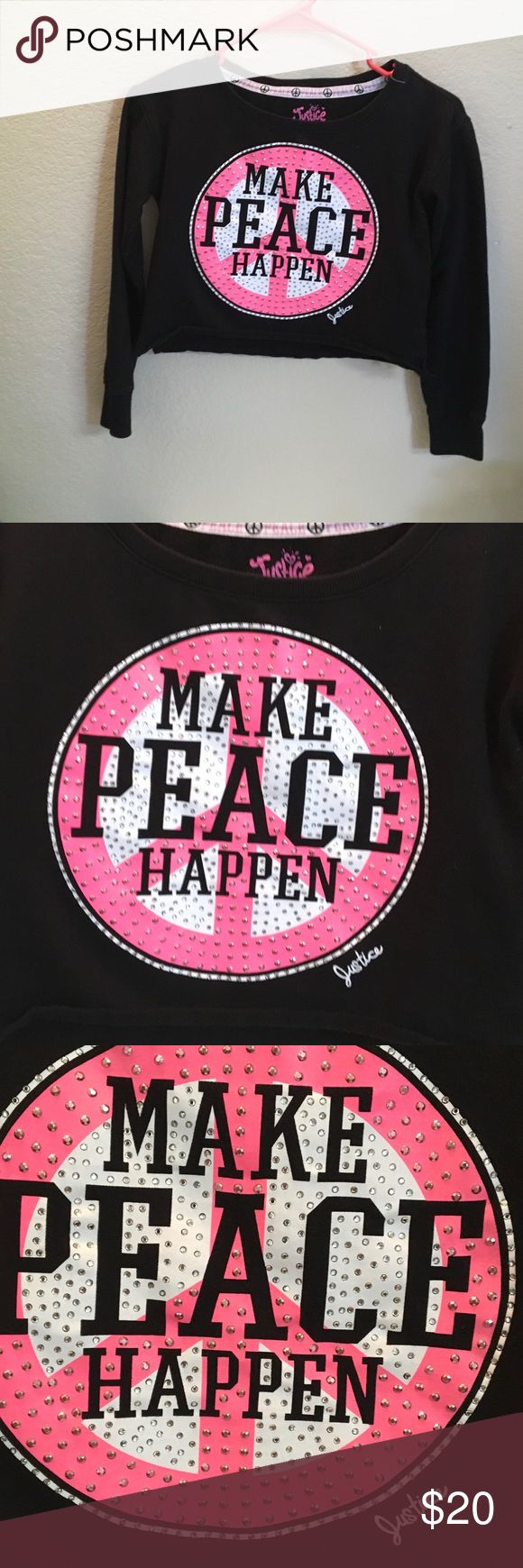 Justice black sweat shirt PEACE Message STUDS 10 Solid black cotton Poly bled long sleeved sweatshirt Knit top. Center design circle pink black & white w lots of silvery studs... MAKE PEACE HAPPEN .... Justice brand always supports the universe and our children. Inside reads.. FOLLOW YOUR DREAMs. Sz 10 Justice Shirts & Tops