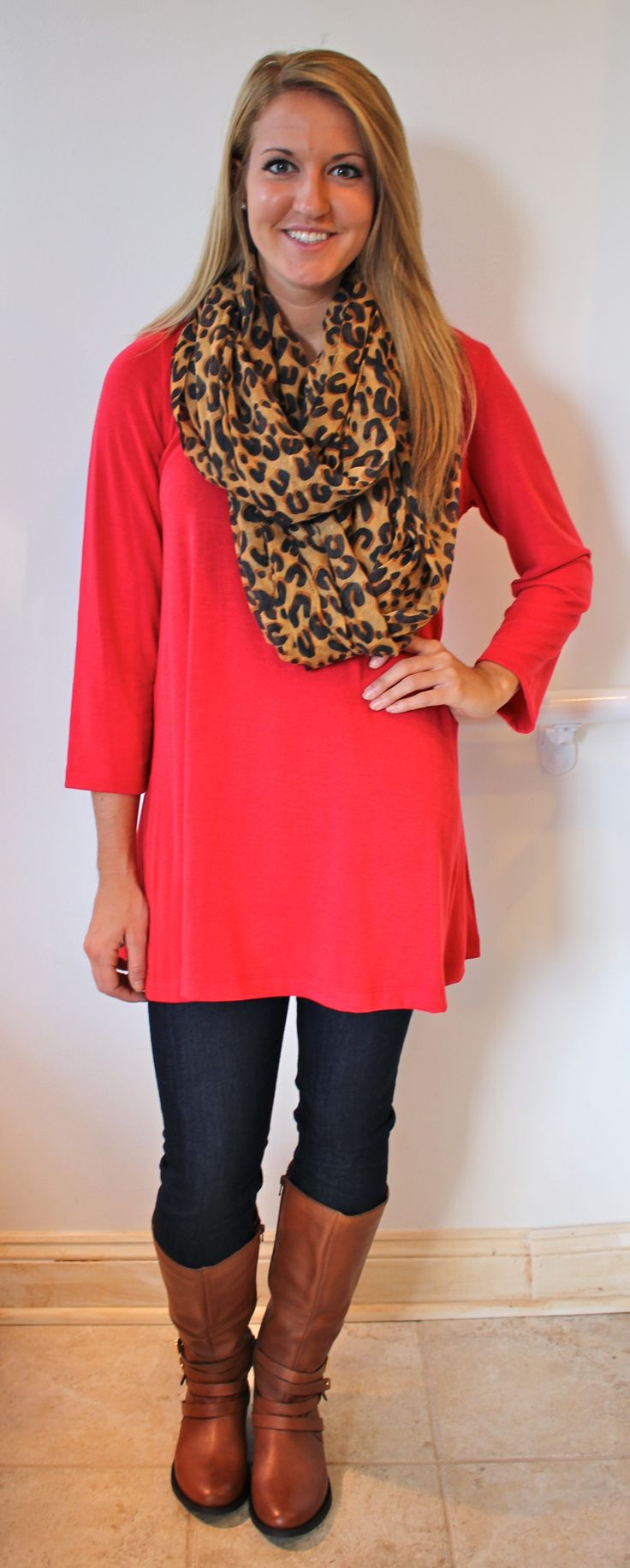 Fall outfits!! Great red tunic with leopard print scarf and riding boots!!