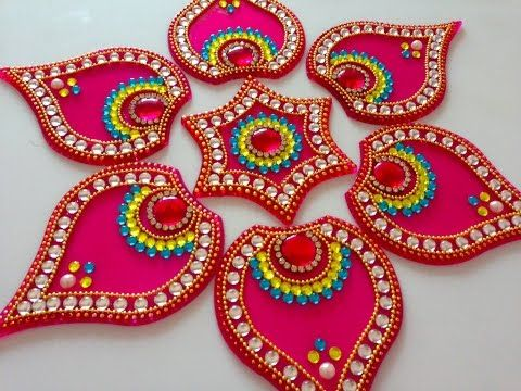 How to make acrylic rangoli | DIY kundan rangoli | rangoli design - YouTube